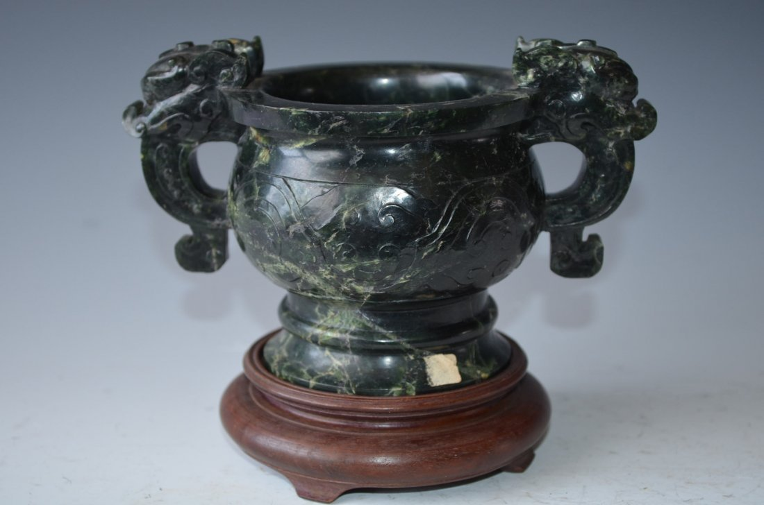 Chinese Carved Spinach Jade Incense Burner