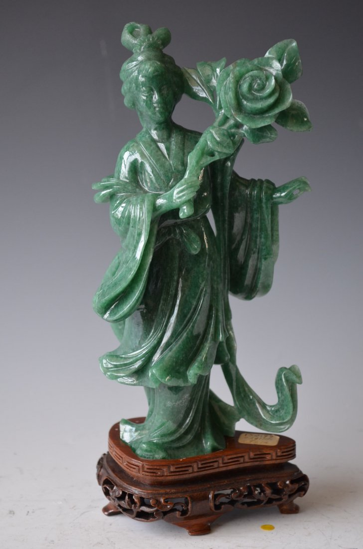 Chinese Carved Spinach Jade Beauty