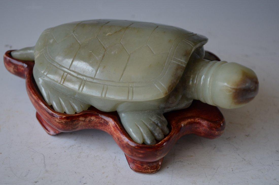 Chinese Carved Celedon Jade Turtle