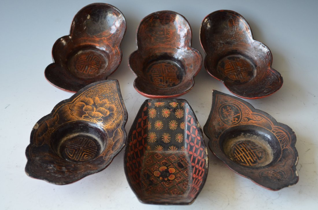 Chinese Lacquer Plates Six Pieces