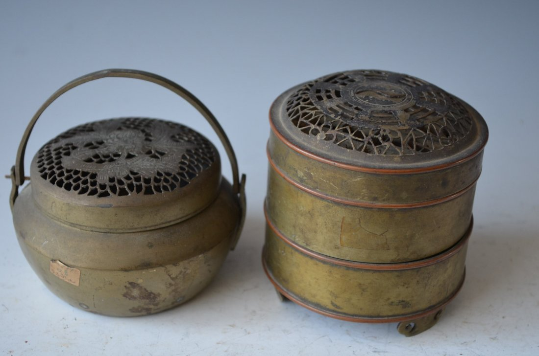 Two Chinese Pewter Burners