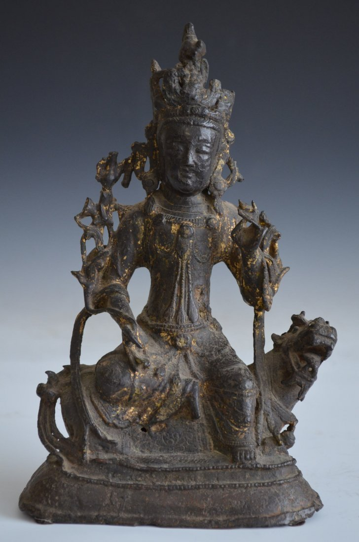 Bronze Seated Chinese Buddha on Chi Lin