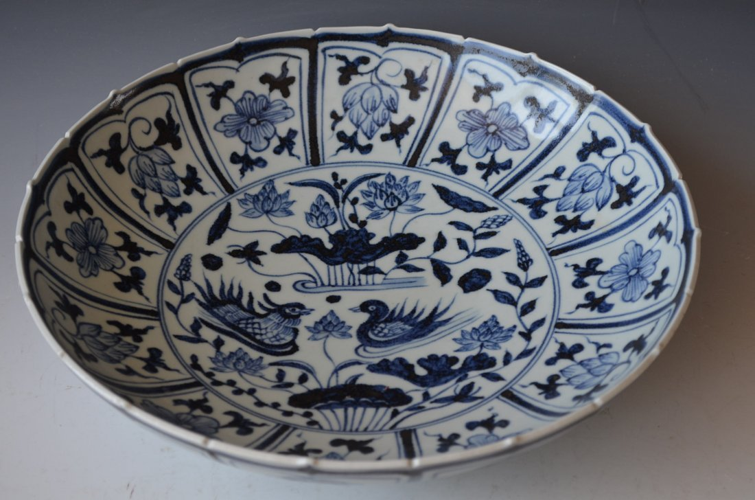 Chinese Blue and White charger with Cranes