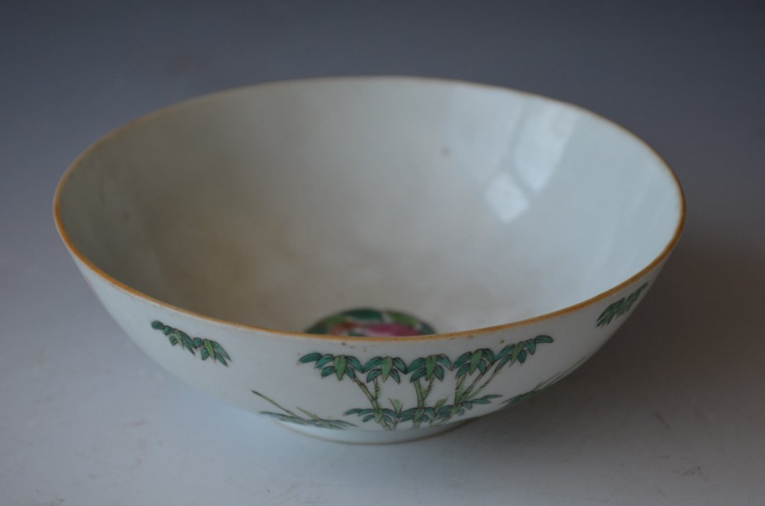 Chinese Famille Rose peach and Bamboo bowl