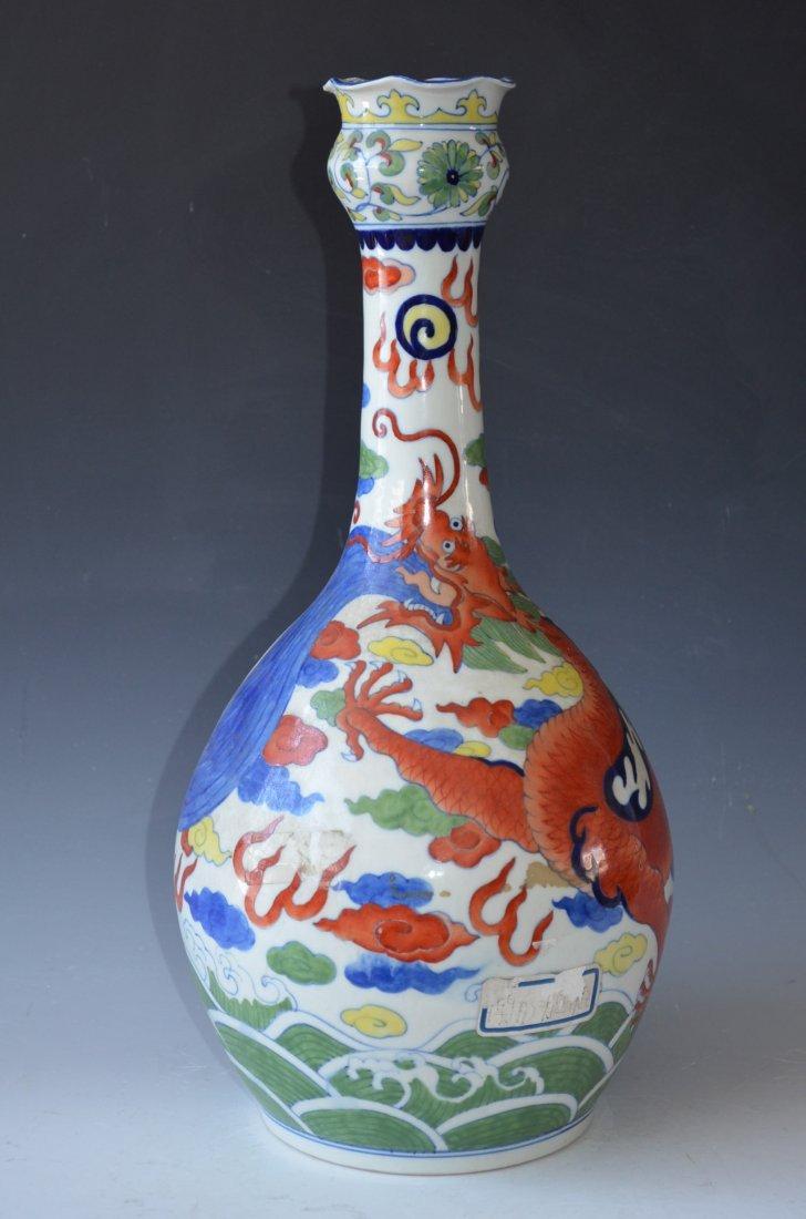 Chinese Woucai Dragon Bottle Vase