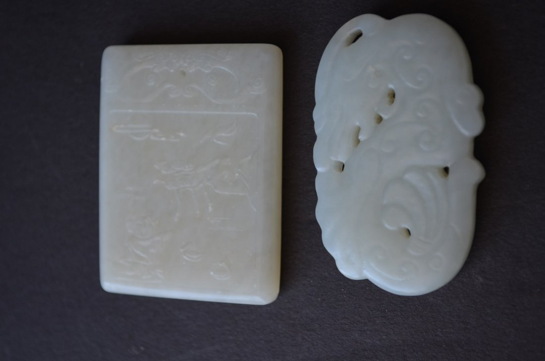 Two White Jade Toggles