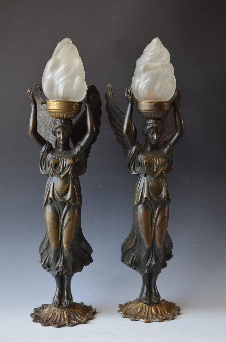 Pair of Bronze Lady Lamps