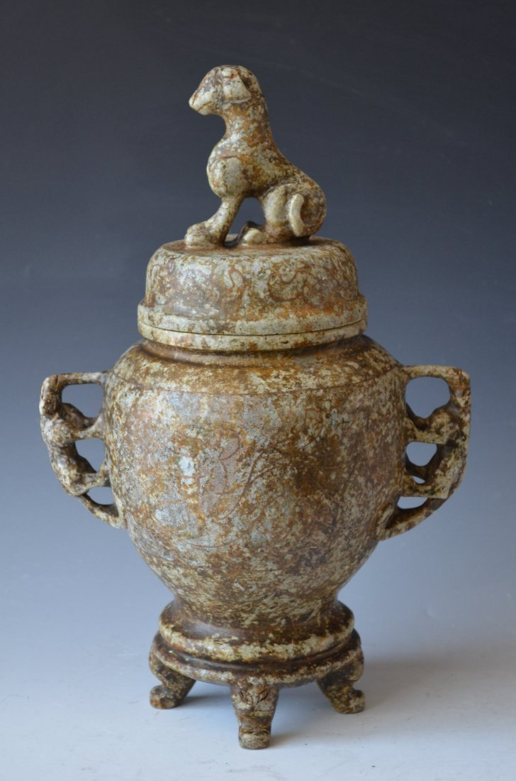 Carved Stone Lidded Jar with Foo Dog