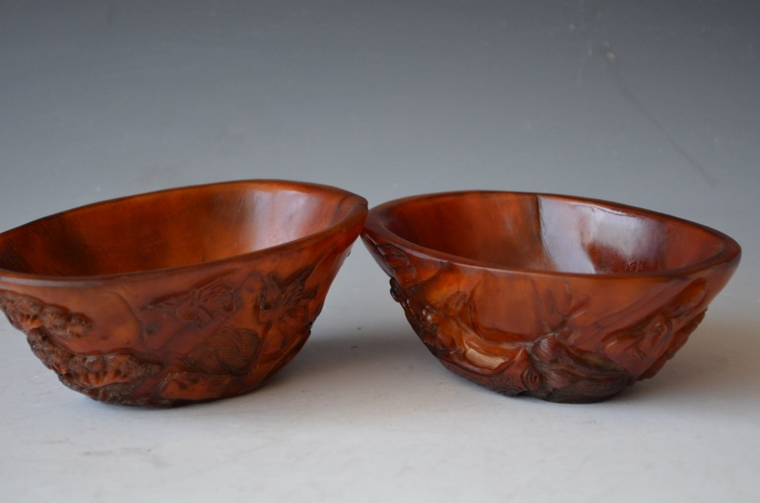 Two Carved Horn Small Cups