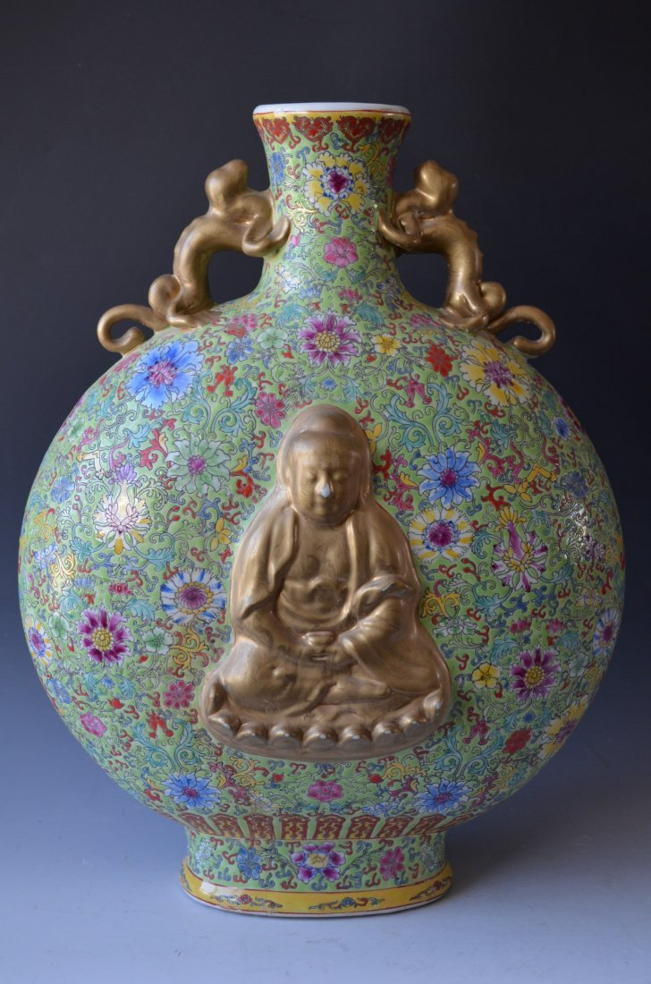 Large Famille Rose Pale Green Ground Buddha Moon Flask