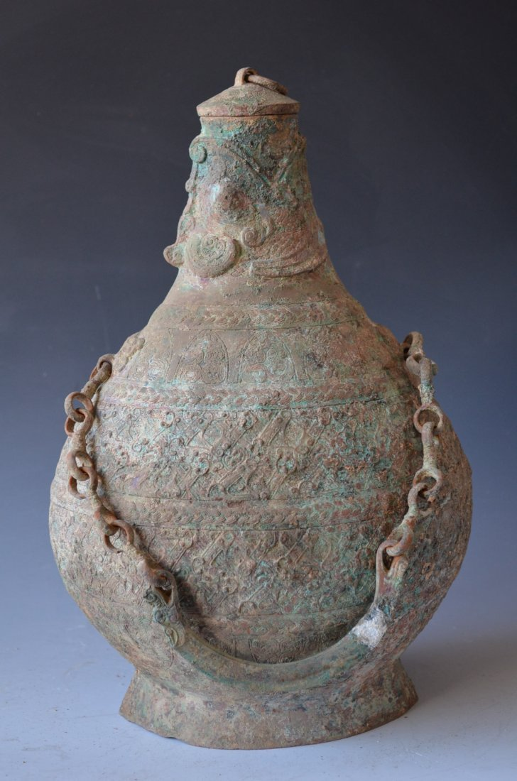 Chinese Archaic Bronze Bottle with Fish Spout