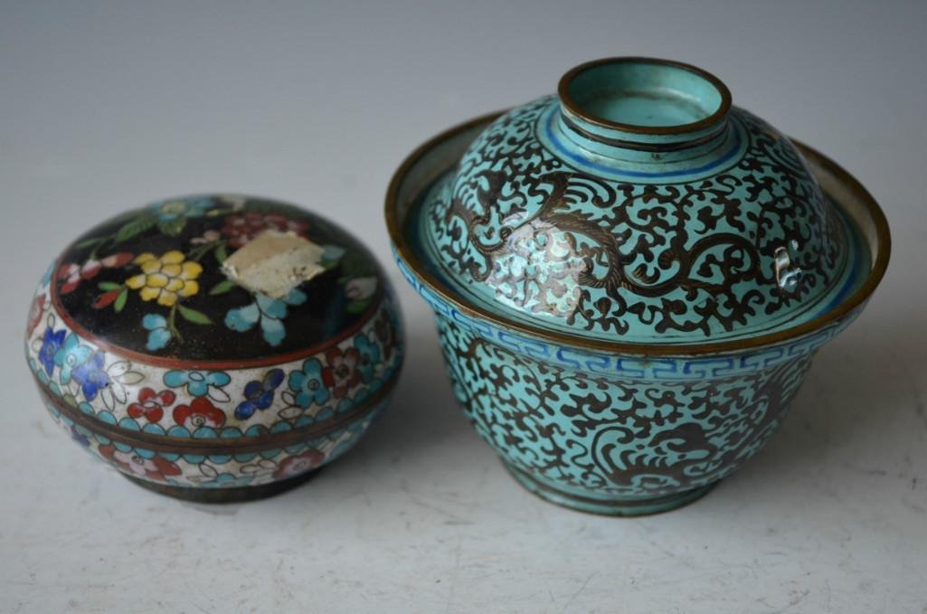 Two Chinese Enamel Lidded Dishes