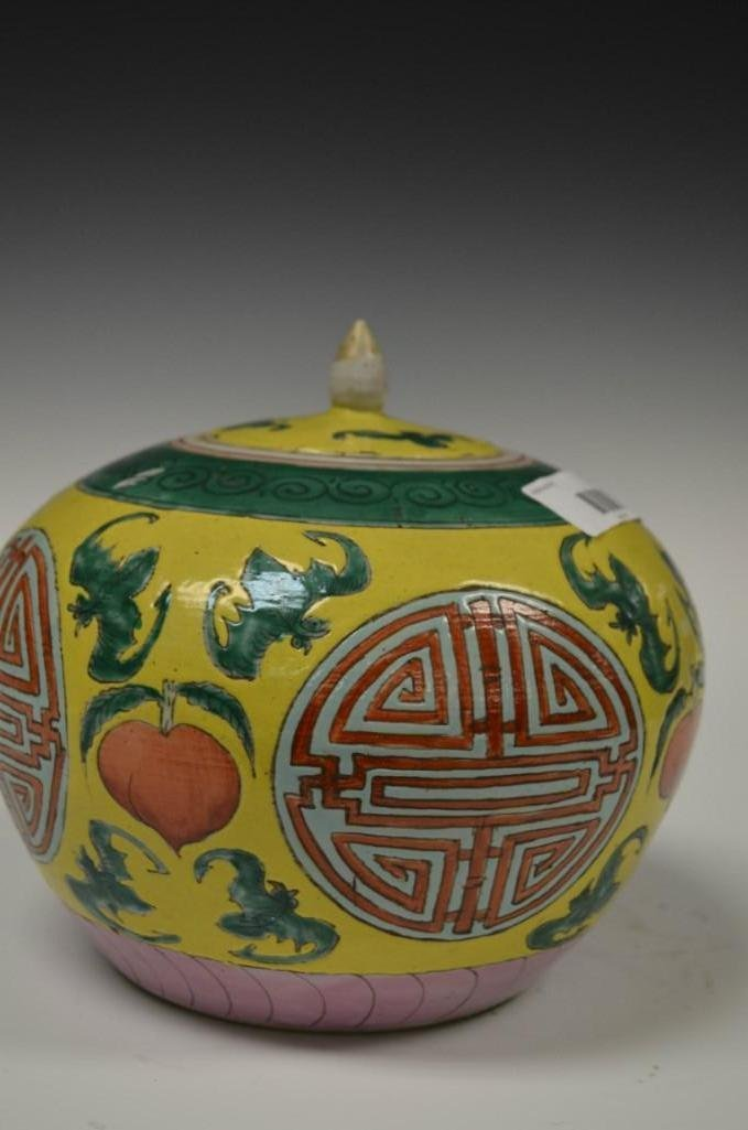 Antique Chinese Yellow Ground Famille Rose Lidded Jar