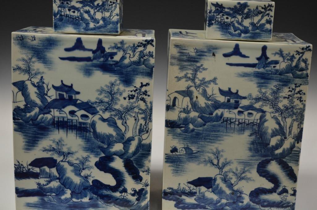 Pair of Square Lidded Blue and White Porcelain  Vases