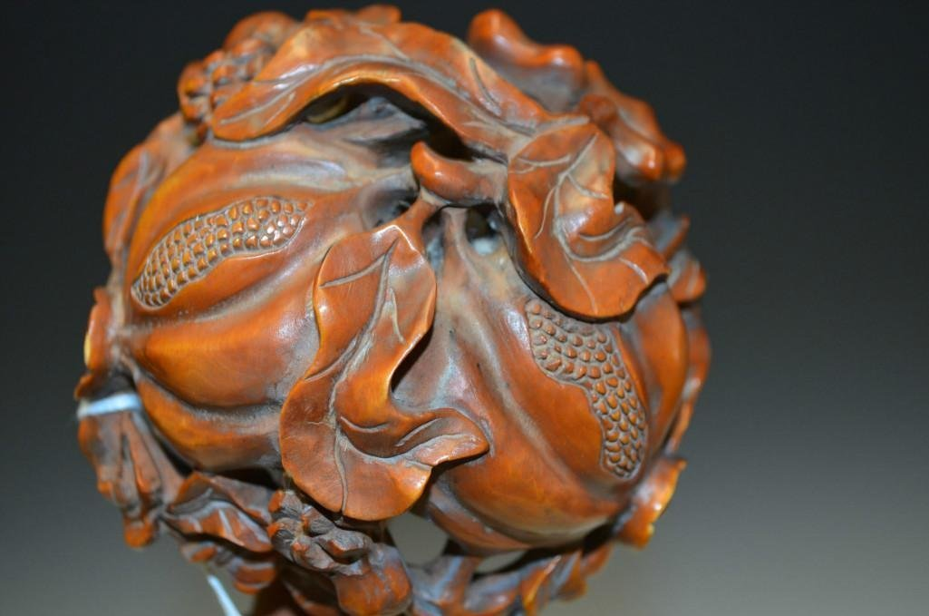 Carved Box Wood Ruyi Sceptor - 5