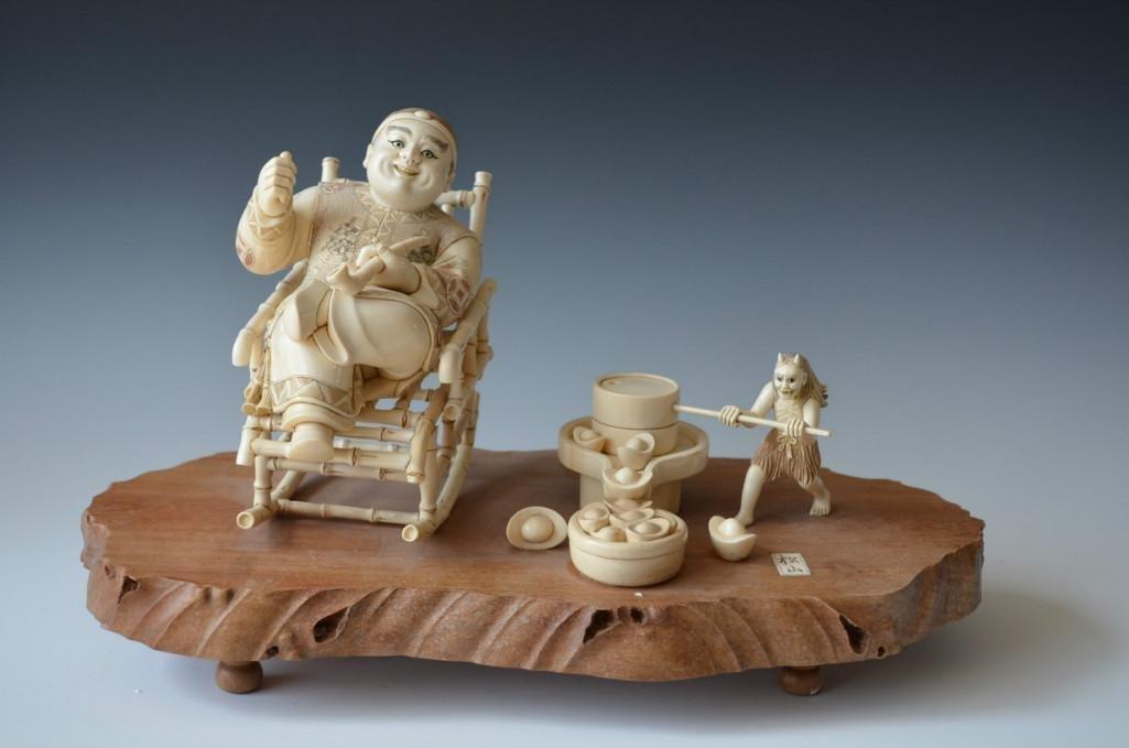 Signed Carved Ivory Group on Wood Base