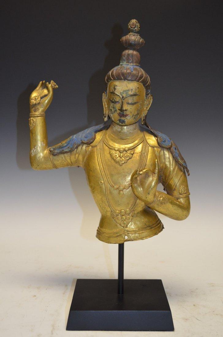 Antique Bronze Buddha Bust 18th Century