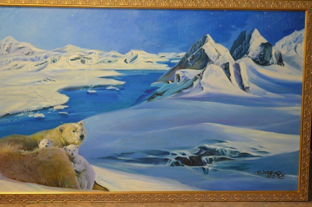 Signed Large Oil On Canvas with Family of Polar Bears