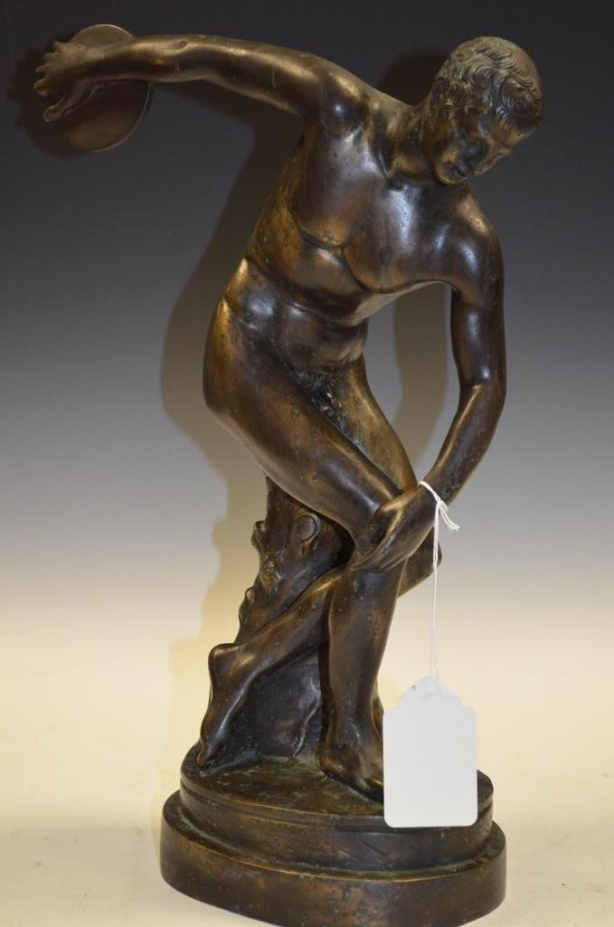 Bronze Statue Of A Disk Thrower Signed Giannelle