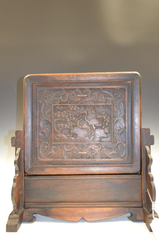 Carved Wood Table Screen