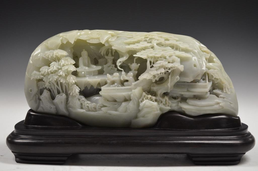 A Large & Magnificent Imperial Carved White Jade Mounta