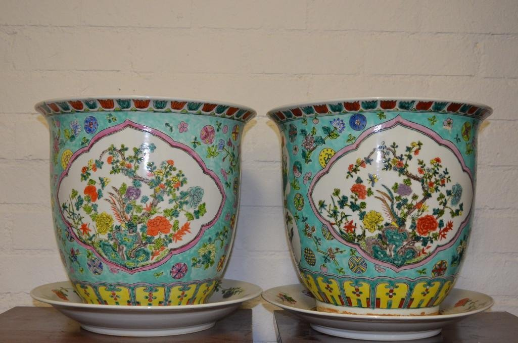 Pair of Famille Rose porcelain Chinese planters