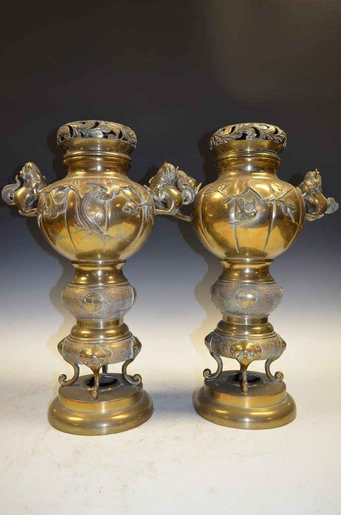 Pair of Japanese bronze lidded urns