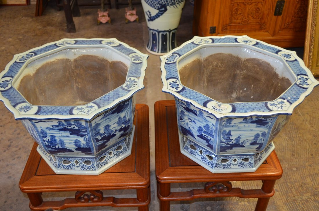 Pair of Blue & white HexagonalChinese porcelain planter