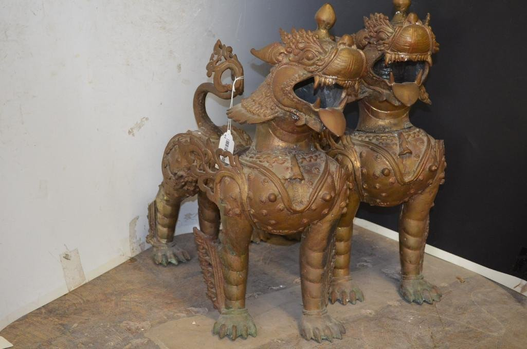 Pair of Bronze Tibetan Foo Lions
