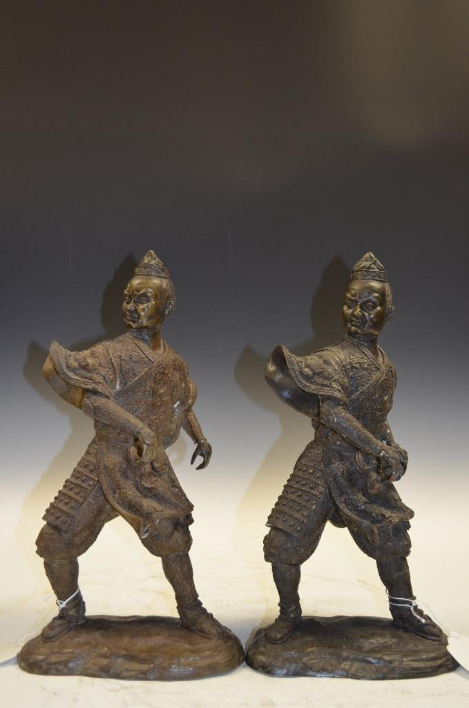 Pair of Japanese Bronze Warriors