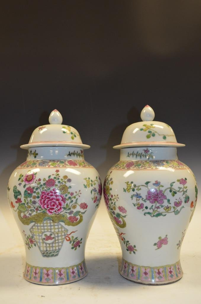 Pair of Chinese Famille Rose Porcelain Lidded Jars