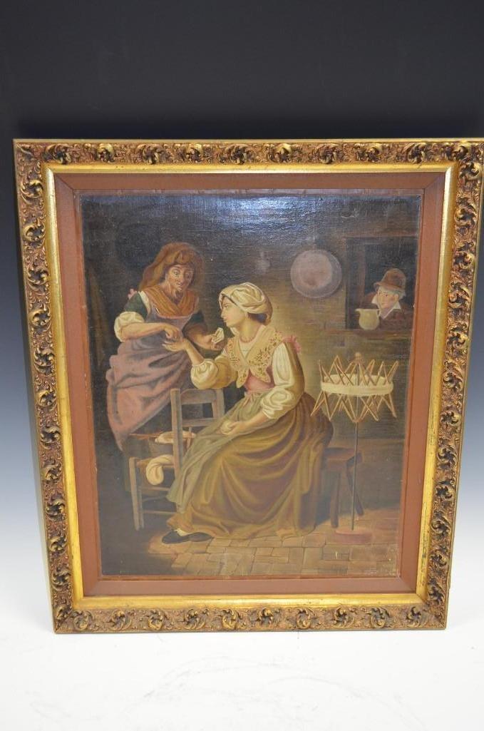 Framed Oil on Board Painting of Fortune Teller