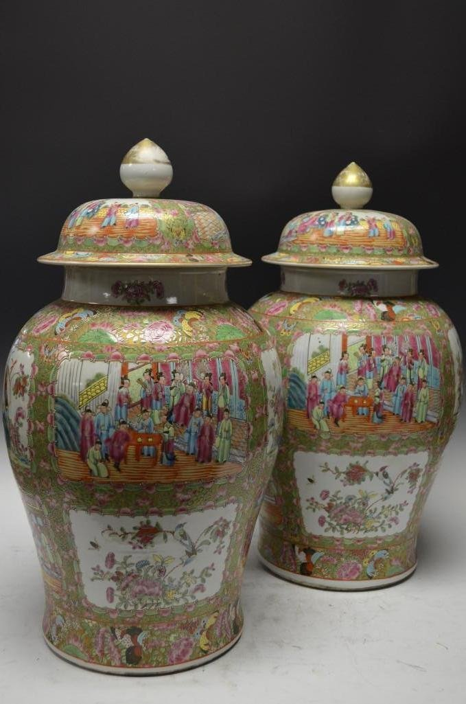 Pair of Rose Canton Medallion Porcelain Lidded Jars