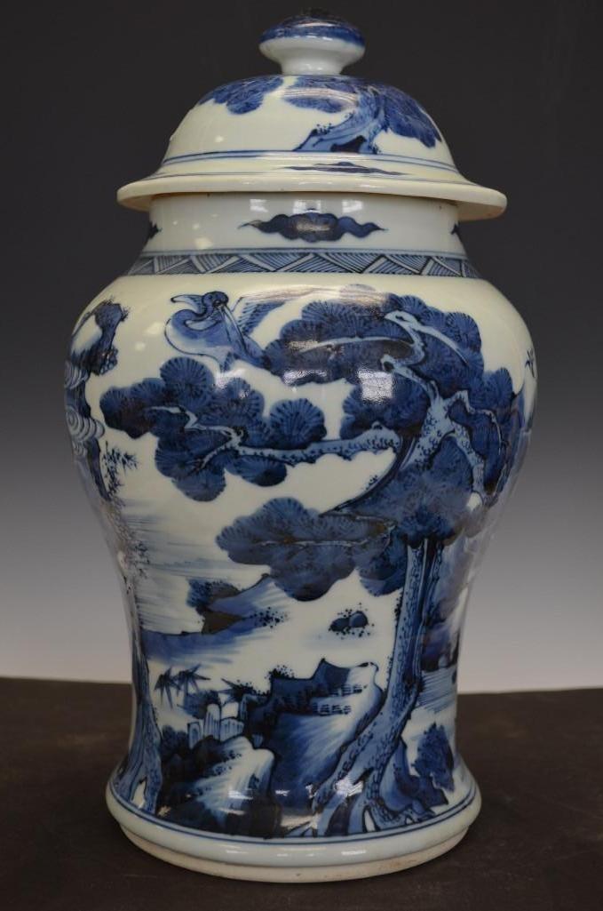 Chinese Blue & White Lidded Porcelain Jar
