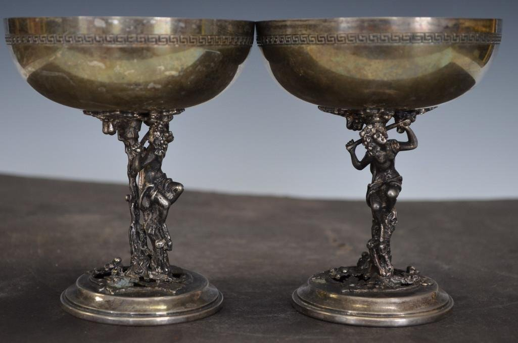 Pair of Silver Wine Footed Cups