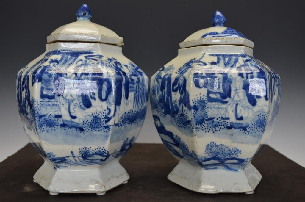 Pair of Chinese Blue & White Lidded Jars