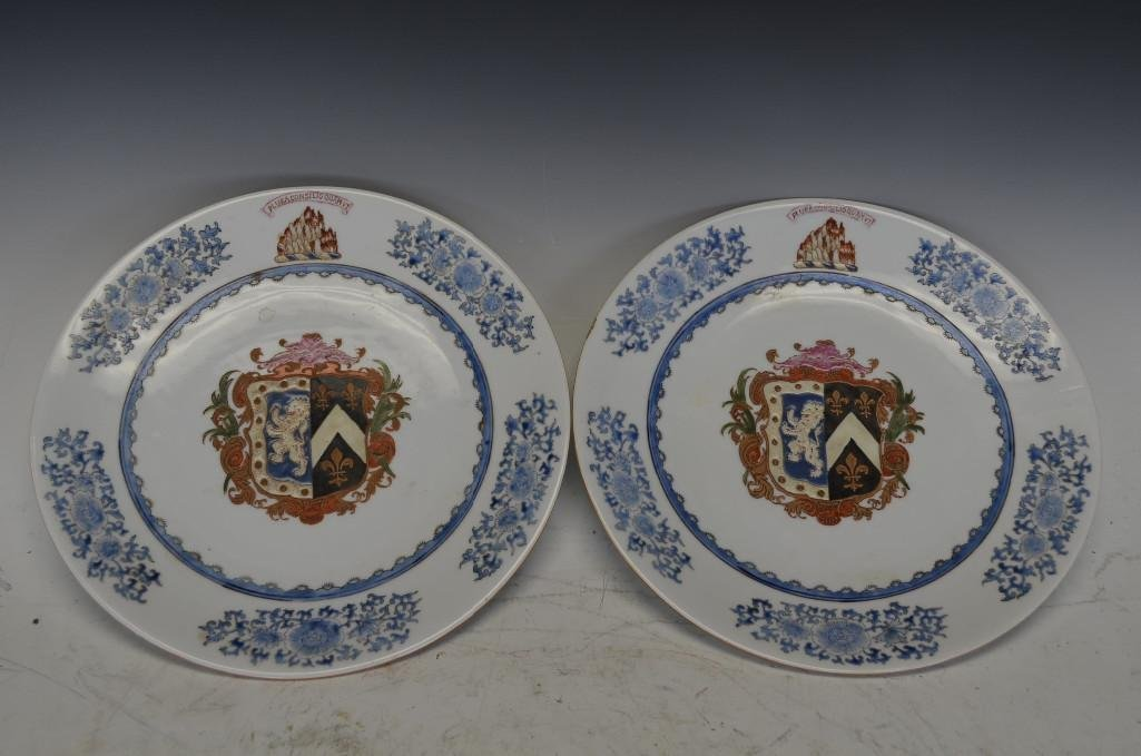 Pair of Armoral Porcelain Chargers