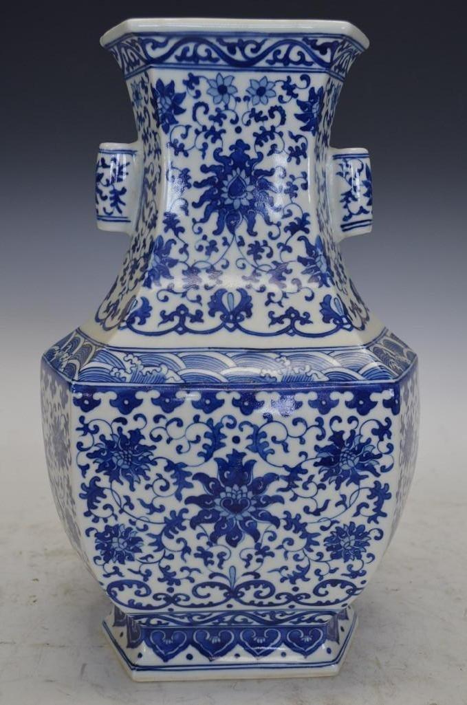 Chinese Blue & White Hexagonal Porcelain Vase