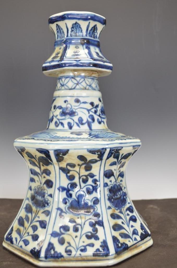 Chinese Blue & White Hexagonal Candle Holder/Vase