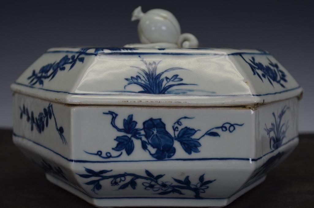 Chinese Blue & White Hexagonal Lidded Porcelain Dish