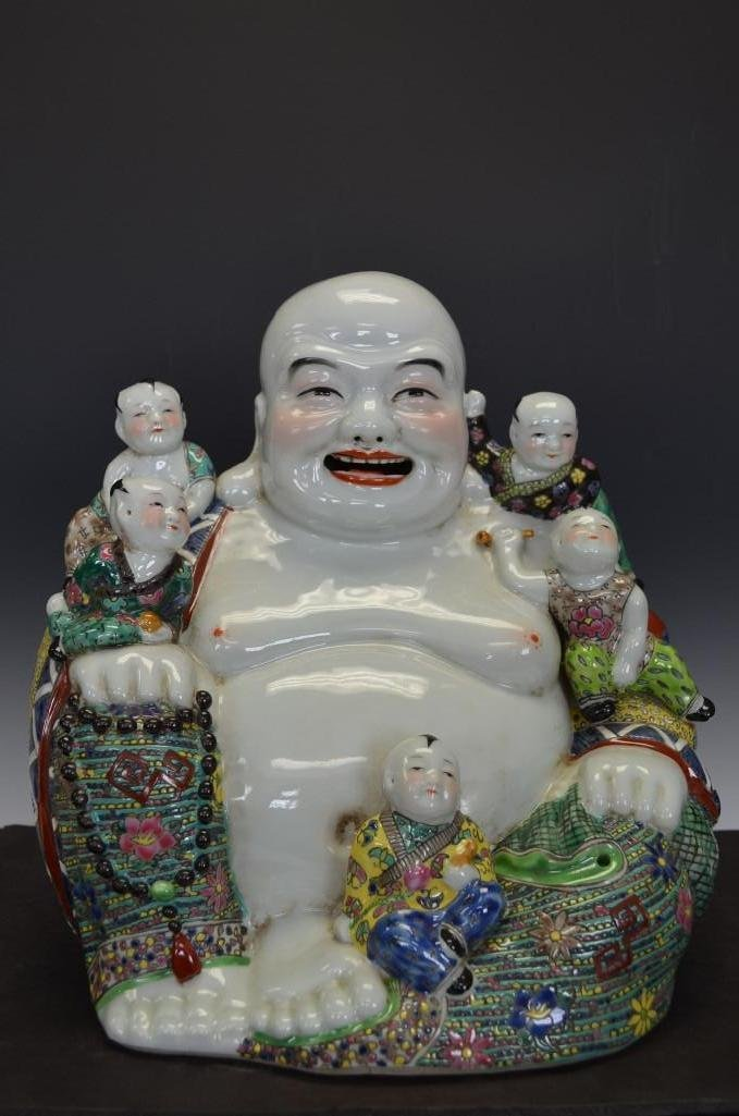 Chinese Porcelain Seated Happy Buddha & Protector Boy