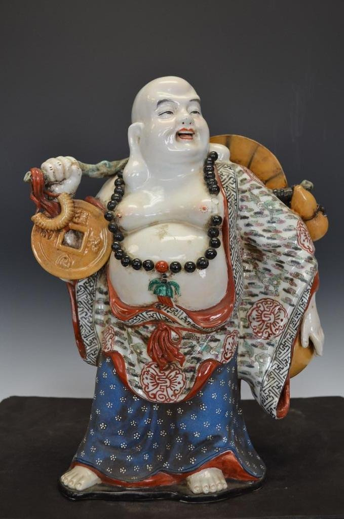 Chinese Famille Rose Porcelain Standing Buddha