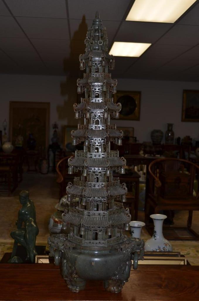 Magnificent & Massive Carved Celedon Jade Pagoda
