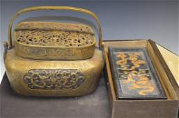 Two Chinese Items Bronze Hand Warmer  Ink Stone