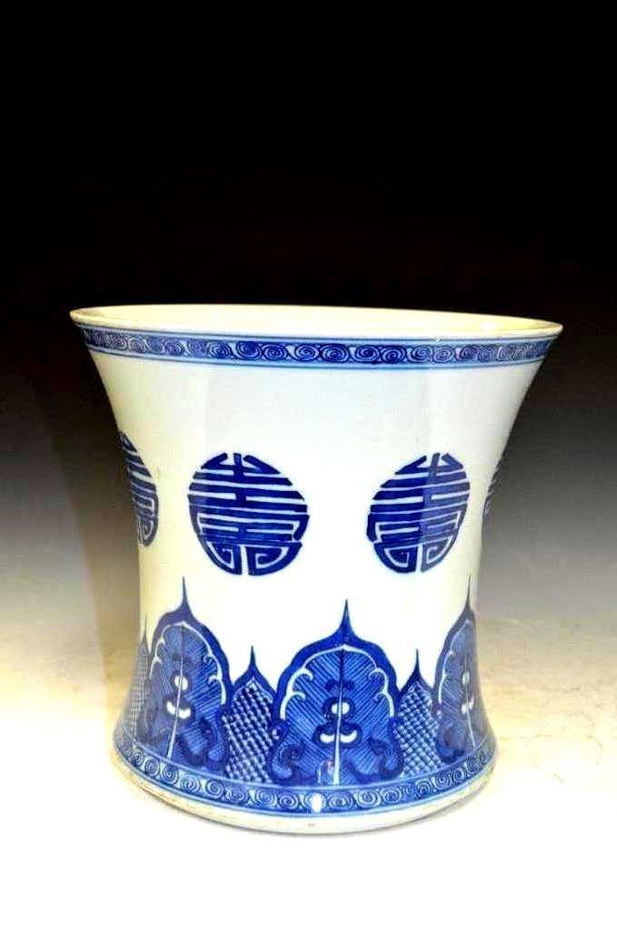 Chinese Blue & White Glazed Brush Pot