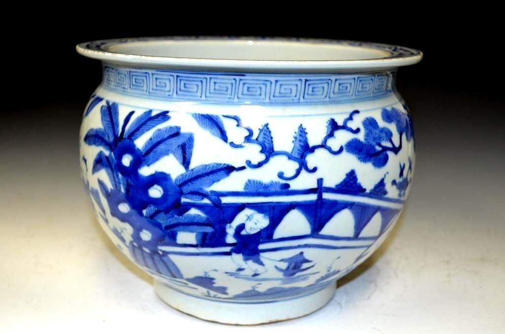 Chinese Blue & White Glazed Porcelain Planter/Bowl