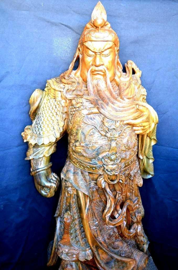Life Size Carved Hardwood Model of a Warrior