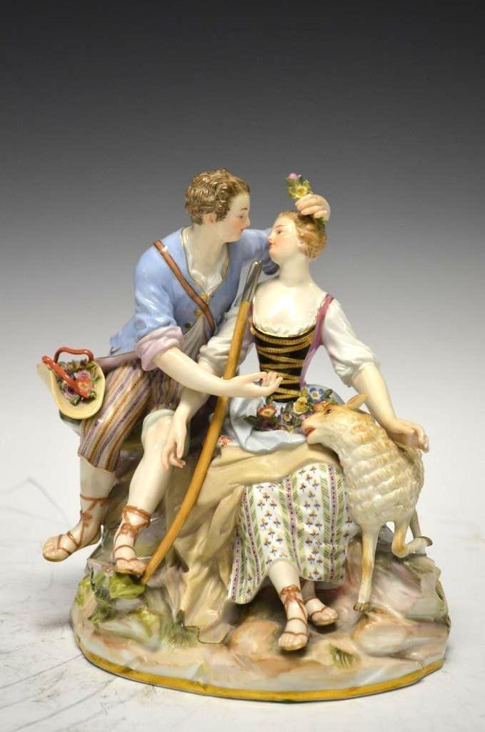 Antique Meissen Group of Lover & Lamb 19th Century