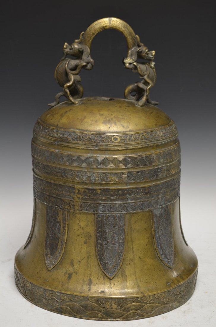Large Antique & Important Chinese Bronze Dragon Bell
