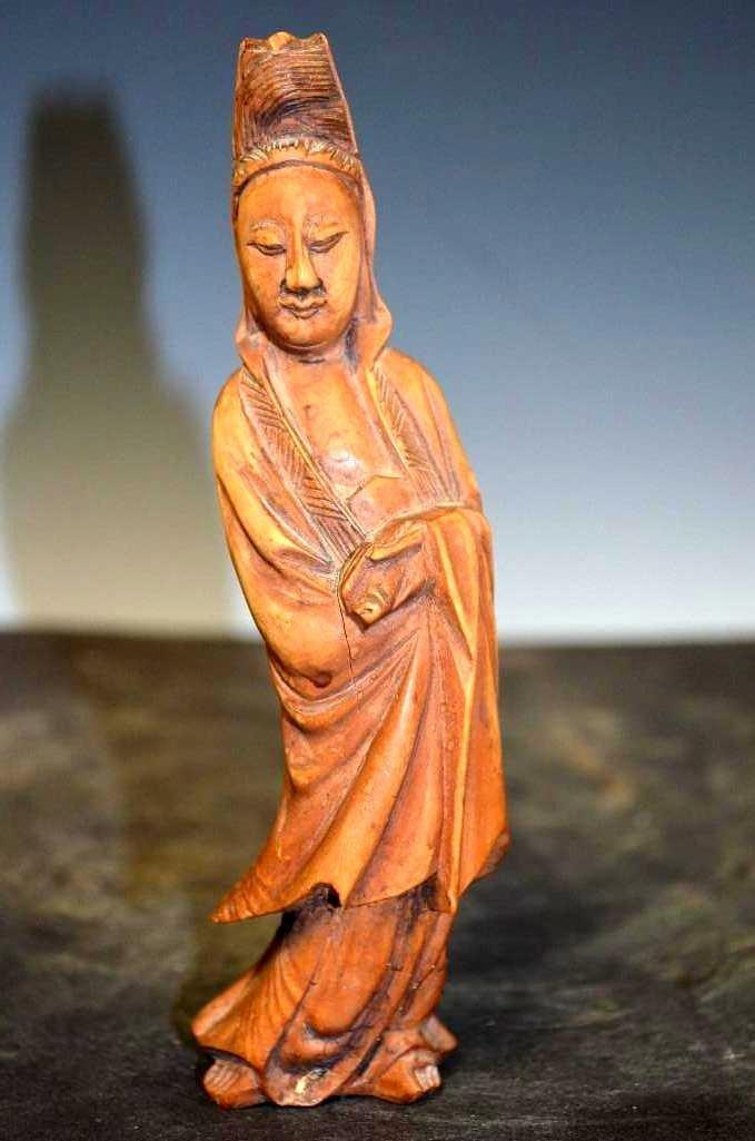 Carved Hardwood Model of Standing Quan Yin